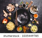 asian food cooking concept.... | Shutterstock . vector #1035449785