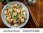 fried rice with shrimp and... | Shutterstock . vector #1035452386