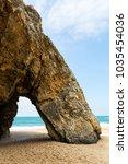 Small photo of scenic geological formation Praia da Adraga (Adraga Beach) in Portugal