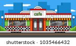 retro cafe exterior flat line... | Shutterstock .eps vector #1035466432