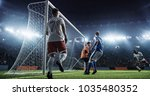 soccer game moment  on... | Shutterstock . vector #1035480352
