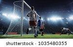 soccer game moment  on... | Shutterstock . vector #1035480355