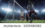 soccer game moment  on... | Shutterstock . vector #1035480382