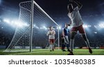 soccer game moment  on... | Shutterstock . vector #1035480385