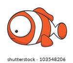 Cute Cartoon Clownfish With...
