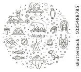 thin line arctic icons set ... | Shutterstock .eps vector #1035488785