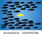 a group of silhouette fish swim ... | Shutterstock .eps vector #1035493786