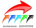 colored up arrows. 3d... | Shutterstock . vector #1035495598