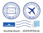 postmarks milan and stamps.... | Shutterstock . vector #1035495616