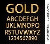 golden vector alphabetical... | Shutterstock .eps vector #1035500998