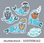 vector stickers with cartoon... | Shutterstock .eps vector #1035508162