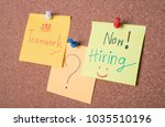 now hiring text on sticky note... | Shutterstock . vector #1035510196