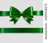 green ribbon bow with gradient... | Shutterstock .eps vector #1035518272