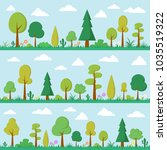 stock vector green trees on... | Shutterstock .eps vector #1035519322