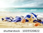 shell on beach and summer time  | Shutterstock . vector #1035520822