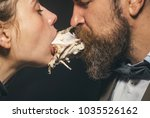 couple enjoys meal  meat or... | Shutterstock . vector #1035526162