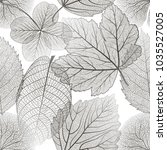seamless pattern with leaves.... | Shutterstock .eps vector #1035527005