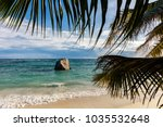 beautiful beach on la digue... | Shutterstock . vector #1035532648