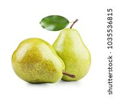 two ripe pears isolated on... | Shutterstock . vector #1035536815