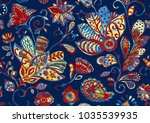 paisley seamless hand painted...   Shutterstock . vector #1035539935