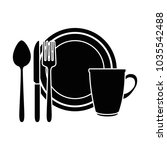 dish with cup and cutlery | Shutterstock .eps vector #1035542488