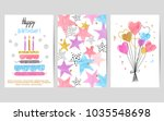 happy birthday cards set....   Shutterstock .eps vector #1035548698