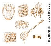 set of isolated sketches of bee ... | Shutterstock .eps vector #1035553336