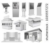 kiosk stand booth mockup set.... | Shutterstock .eps vector #1035557272