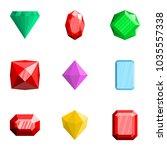 precious stone icons set. flat... | Shutterstock .eps vector #1035557338