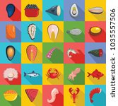 seafood fresh fish food icons... | Shutterstock .eps vector #1035557506