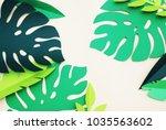 summer tropical leaves  plants... | Shutterstock . vector #1035563602