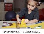 cute little 5 years old girl... | Shutterstock . vector #1035568612