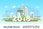 modern eco city   colorful flat ... | Shutterstock .eps vector #1035571252