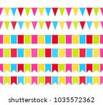 colorful garland flags seamless ... | Shutterstock .eps vector #1035572362
