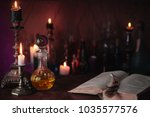 magic potion  ancient books and ... | Shutterstock . vector #1035577576