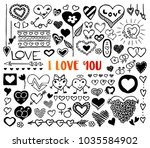i love you doodles with hand... | Shutterstock .eps vector #1035584902