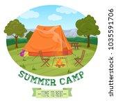 camping illustration of summer...   Shutterstock . vector #1035591706