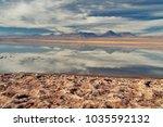 salt flat at atacama desert... | Shutterstock . vector #1035592132