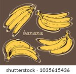 banana vector collection  hand... | Shutterstock .eps vector #1035615436