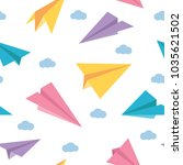 pastel paper planes seamless... | Shutterstock .eps vector #1035621502