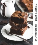 chocolate brownie cake piece... | Shutterstock . vector #1035628582