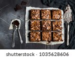 chocolate brownie cake piece... | Shutterstock . vector #1035628606