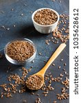 flax seeds linseed superfood... | Shutterstock . vector #1035628612