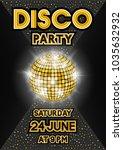 golden disco ball on black... | Shutterstock .eps vector #1035632932