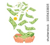 hand holding money. coins and...   Shutterstock .eps vector #1035633835