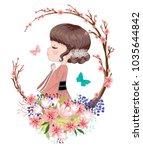 the cute little japanese girl... | Shutterstock .eps vector #1035644842