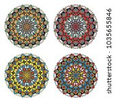 set of four flower mandalas in... | Shutterstock .eps vector #1035655846