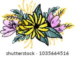watercolor flowers illustration.... | Shutterstock . vector #1035664516