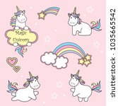set of cute unicorn icons ... | Shutterstock .eps vector #1035665542