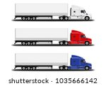 realistic trucks set. side view. | Shutterstock .eps vector #1035666142